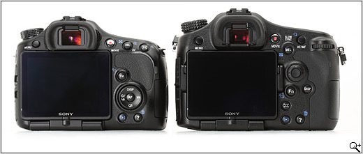 Sony SLT-A65 and SLT-A77 compared - rear view