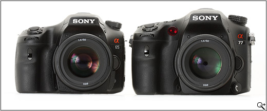 Sony SLT-A65 and SLT-A77 compared - front view