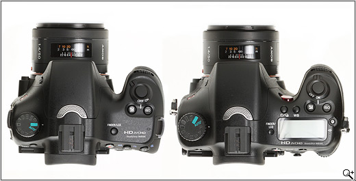 Sony SLT-A65 and SLT-A77 compared - top view